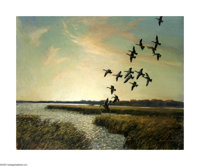 Reveau Bassett (1897-1981) Ducks at Sunset, 1953 Oil on canvas 24 x 30in. Signed lower right: Reveau Bassett '53