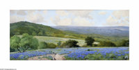 Porfirio Salinas (1910-1973) Bluebonnet Mural, c.1943 Oil/remounted on honeycomb panel 42 x 100in. Signed lower left:...