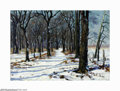 Texas:Early Texas Art - Impressionists, Olin Travis (1888-1975) The Woods Road in Winter, 1917 Oil oncanvas 20 x 28in. Signed lower right: Olin Travis 1917...