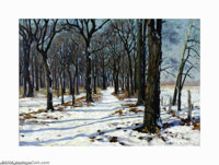 Olin Travis (1888-1975) The Woods Road in Winter, 1917 Oil on canvas 20 x 28in. Signed lower right: Olin Travis 1917