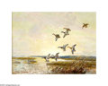 Paintings, Reveau Bassett (1897-1981). Ducks at Sunset. Oil on canvas board. 12 x 16in.. Signed lower left: Reveau Bassett...