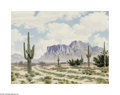 Texas:Early Texas Art - Impressionists, Lewis Teel (1913-1995) Desert Road, c.1930s Oil on canvas board 18x 24in. Signed lower left Provenance: Lewis Teel, Jo...