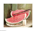 Texas:Early Texas Art - Regionalists, Arva Ford (1890-1979) Watermelon, c.1940s Oil on canvas 20 x 24in. Signed lower right: Arva Ford Inscribed verso: ...