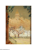 Texas:Early Texas Art - Impressionists, Samuel E. Gideon (1875-1945) The Texas State Capital as Seen Fromthe Governor's Mansion, 1925 Watercolor 15 x 10in. Sig...