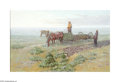 Texas:Early Texas Art - Impressionists, Bill Warden (1927-1991) The Sod Busters Oil on linen 24 x 36in.Signed lower right: B. Warden Inscribed verso: Th...