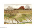 Texas:Early Texas Art - Impressionists, Ramon Froman (1908-1980) Creekside Farmhouse Oil on linen 18 x24in. Signed lower right: Ramon Froman...