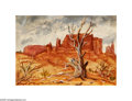Texas:Early Texas Art - Regionalists, Lloyd Goff Monument Valley, c.1940s Oil on paper 12 x 17in. Signedlower left: L. Goff...