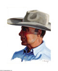 Texas:Early Texas Art - Regionalists, Fred Darge (1900-1978) Cowboy Oil on board 10 x 8in. Signed lowerright: F. Darge ...