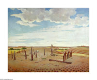 Ben Carlton Mead (1902-1986) Cemetery at Old Tascosa on the Canadian River, West, TX, 1939 Oil on canvas 30 x 38in. Titl...