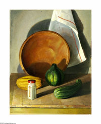 Olin Travis (1888-1975) Still Life with Gourds, Bottle & Bowl, 1955 Oil on canvas 28 x 22in. Signed lower right: Oli...