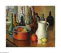 Texas:Early Texas Art - Regionalists, Florence McClung (1894-1992) Bottles & Fruit, c.1945 Oil oncanvas 20 x 24in. Signed lower left: F. McClung Inscrib...