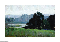 Perry Nichols(1911-1992) The Lake in Summer, c. early 1930s Oil on board 5 x 7in. Signed lower left: Perry Nichols