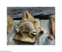 Everett Spruce (1908-2002) The Coon, 1943 Oil on masonite 16 x 20in. Signed lower left: E. Spruce Titled verso: T