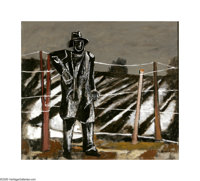 Everett Spruce (1908-2002) The Night Watchman, 1941 Oil on canvas 25 x 28 1/4in. Signed lower right: Spruce  This