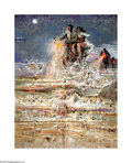 Texas:Early Texas Art - Regionalists, Everett Spruce (1908-2002) Night Riders on the Beach, 1970 Acrylic26 x 60in. Signed lower right: Spruce Provenance...