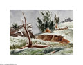 Texas:Early Texas Art - Regionalists, William Lester (1910-1991) Cutbank, c.1940 Watercolor on paper 131/2 x 17in. Signed verso:WM Lester (S.L.) Provena...