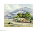 Paintings, Dorothy Smith (c. 1900-unknown). The Stage Stand Near Alpine and Ft. Davis, 10/7/52. Oil on canvas board. 16 x 20in. Signed ...