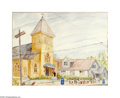Texas:Early Texas Art - Regionalists, Reid Crowell (1911-1991) Our Lady of Guadalupe (Iglesia De Ntra.Sra. Guadalupe), c.1930s Watercolor on paper 17 1/2 x 23...