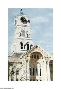 Herb Rather (1930- ) Texas Court House Tower and Facade Watercolor on paper 40 x 25in. Signed lower right: H. Rather&...