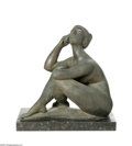 Texas:Early Texas Art - Modernists, Charles Umlauf (1911-1994) Seated Battle III Bronze with granitebase 20 x 12 x 19in. Signed: C Umlauf and Foundry Sta...