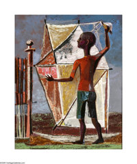 William Lester (1910-1991) Boy & Kite, 1951 Oil on panel 30 x 24in. Signed verso: Boy & Kite WM Lester 1951 Prov...