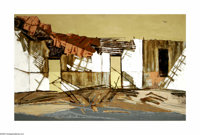 Cecil Casebier (1922-1996) Patterns, Old House, 1957 Oil on masonite 30 x 48in. Signed lower right: C.L. Casebier '57&am...