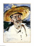 Texas:Early Texas Art - Modernists, Xavier Gonzalez (1898-1993) Old Man Luna - He Shot His Daughter,1937 Watercolor 21 x 15in. Unsigned, Authentication fro...