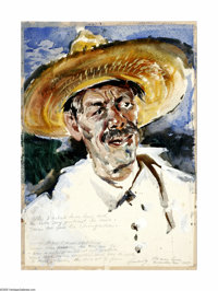 Xavier Gonzalez (1898-1993) Old Man Luna - He Shot His Daughter, 1937 Watercolor 21 x 15in. Unsigned, Authentication fro...