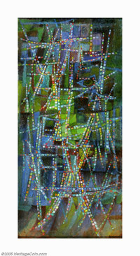 Robert Preusser (1919-1992) Mosaic Tracery, 1966 Oil and sand on canvas 42 x 20in. Signed and titled verso: Preusser M...