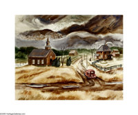 Kelly Fearing (1918- ) Rainy Winter Evening, 1941 Watercolor 16 x 20in. Signed lower right: Kelly Fearing '41 Pro