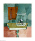 Texas:Early Texas Art - Modernists, Kelly Fearing (1918- ) A Study in Reversed Perspective Using Table & Aquarium, 1946 Oil on canvas with collage, fabric, ...