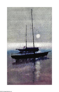 Paul Maxwell (1925- ) Sailboat Oil on canvas 40 x 24in. Signed lower left: P. Maxwell