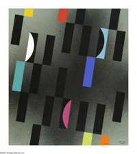 J.J. McVicker (1911-2004) Tangency Series #4, 1984 Acrylic on canvas 32 x 28in. Signed lower right: McVicker 1984 P