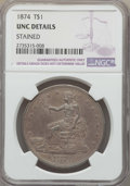 Trade Dollars: , 1874 T$1 -- Stained -- Details NGC. UNC. NGC Census: (3/83). PCGSPopulation: (8/103). CDN: $950 Whsle. Bid for problem-fre...
