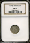 Seated Dimes: , 1874-S 10C Arrows VF30 NGC. ...