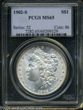 """Morgan Dollars: , 1902-S $1 MS65 PCGS. The current Coin Dealer Newsletter (Greysheet)wholesale """"bid"""" price is $2300.00...."""