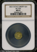 California Fractional Gold: , 1853 $1 Liberty Octagonal 1 Dollar, BG-530, R.2, MS61 NGC. A wellstruck honey-gold piece with hints of ocean-blue color on...