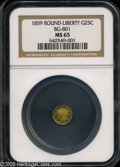 California Fractional Gold: , 1859 25C Liberty Round 25 Cents, BG-801, R.3, MS65 NGC. ...