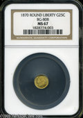 California Fractional Gold: , 1870 25C Liberty Round 25 Cents, BG-808, R.3, MS67 NGC....