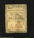 Colonial Notes:Continental Congress Issues, Continental Currency February 17, 1776 $1/2 Very Good. ThisContinental has the popular Fugio design....
