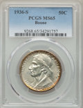 Commemorative Silver, 1936-S 50C Boone MS65 PCGS. PCGS Population: (494/343). NGC Census:(379/275). CDN: $180 Whsle. Bid for problem-free NGC/PC...