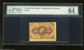 """Fractional Currency:First Issue, Fr. 1230 5c First Issue PMG Choice Uncirculated 64. PMG declares this note has """"exceptional paper quality, two jumbo margins..."""