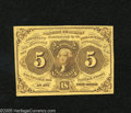 Fractional Currency:First Issue, Fr. 1230 5c First Issue Extremely Fine-About New. Scrutiny detects light handling on this note....