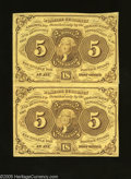 Fractional Currency:First Issue, Fr. 1230 5c First Issue Vertical Pair Extremely Fine. A hard fold is found between the notes. There is a little more handlin...