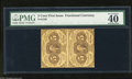 """Fractional Currency:First Issue, Fr. 1230 5c First Issue Vertical Pair PMG Extremely Fine 40. PMG has added the comments, """"tear between notes, pressed.""""..."""