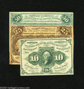 Fractional Currency:First Issue, Fr. 1243 10c First Issue XF Fr. 1281 25c First Issue XF Fr. 1312 50c First Issue About New. The Fr. 1243 is 35 t... (3 notes)