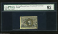 Fractional Currency:Second Issue, Fr. 1284 25c Second Issue PMG Crisp Uncirculated 62. The back surcharges are clear on this 25¢ note that has three ample mar...