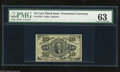"""Fractional Currency:Third Issue, Fr. 1256 10c Third Issue PMG Choice Uncirculated 63. The sheet position indicator """"1"""" is faint on this example...."""