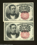 Fractional Currency:Fifth Issue, Fr. 1265 10c Fifth Issue New Fr. 1266 10c Fifth Issue Choice New.The Short Key has three wide margins, while the Long... (2 notes)