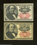 Fractional Currency:Fifth Issue, Fr. 1308 25c Fifth Issue VG Fr. 1309 25c Fifth Issue Fine. This lotconsists of an example of the Long Key and Short K... (2 notes)
